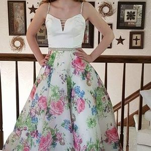 Mori Lee Floral Gown - Size 2